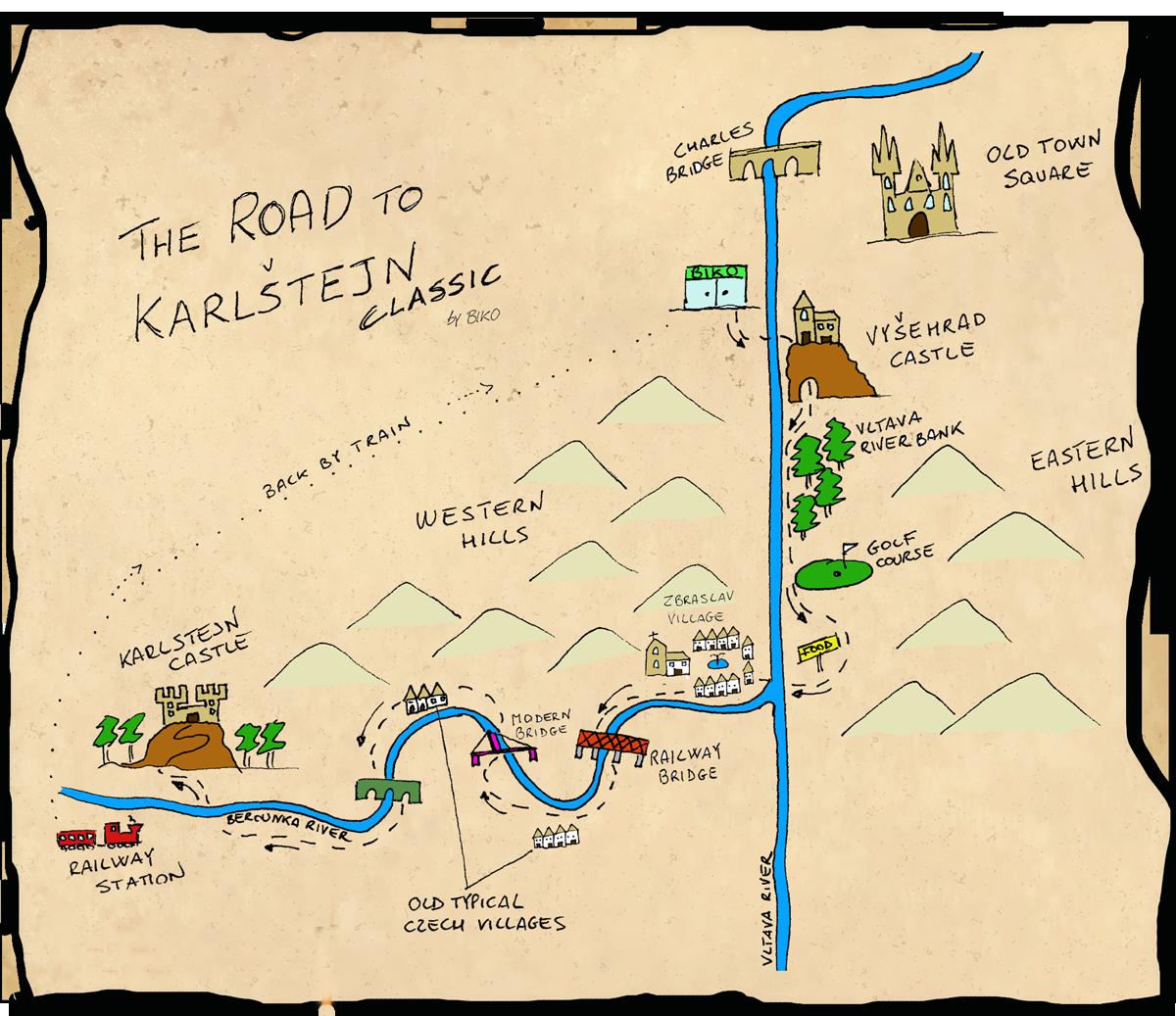 Karlstejn castle easy bike tour map