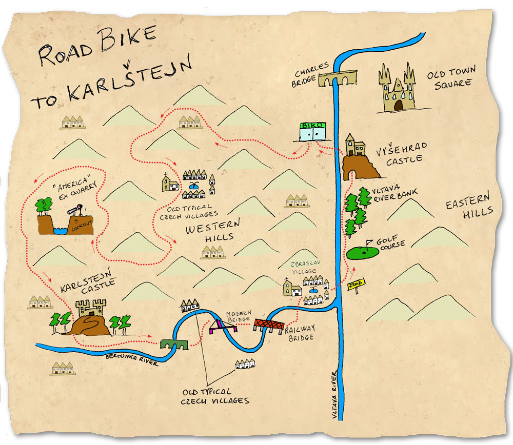 Road-bike-to-Karlstejn map