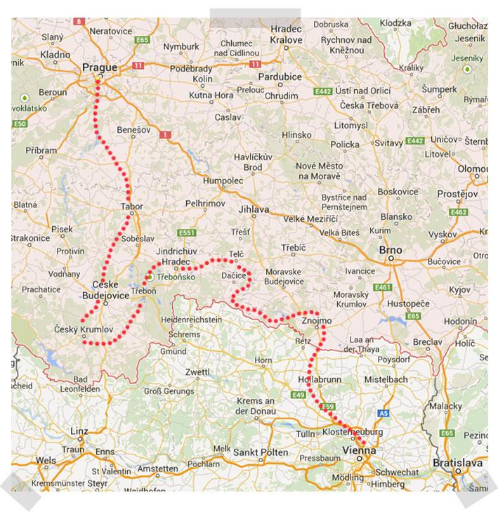 Map-Prague-Vienna easy-road--bike-holiday-by-BIKO